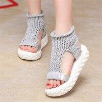 مصمم المرأة صنادل الصيف منصة كعب سميك أحذية السيدات المنسوجة مثير شقة zapatos موهير sandalias