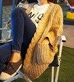 [XITAO] Estilo Thicked Invierno 2016 de Corea Del Sur Retro Torcedura Bordada Color Sólido Femenino Suéter Cardigan de Punto XXA-002