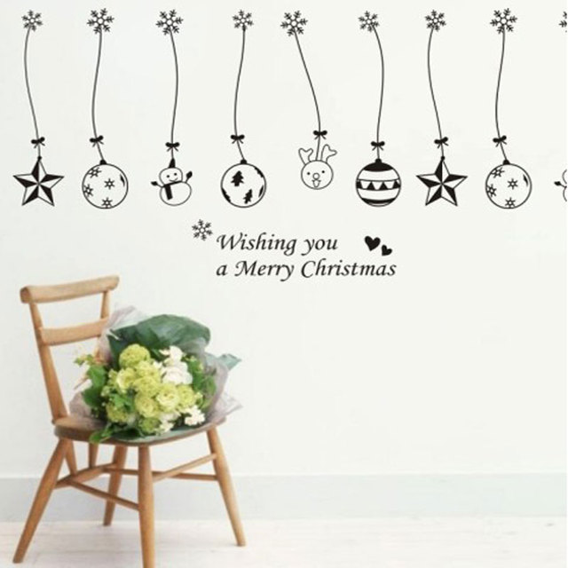 Christmas Balls Bells Hanging Chain Wall Sticker Home Decoration Stores Showcase Decorations Window Stickers