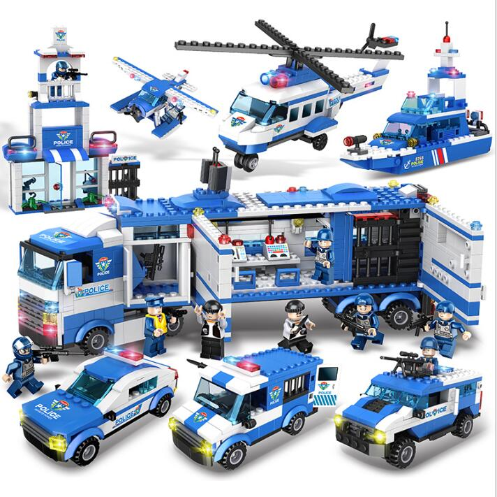 8 In 1 City Police Series with 8 Figures Building Blocks DIY Bricks Educational Toys For Children Compatible with Legoed Blocks qunlong police helicopter modle building blocks 102pcs diy bricks set educational toys for children compatible with legoe city