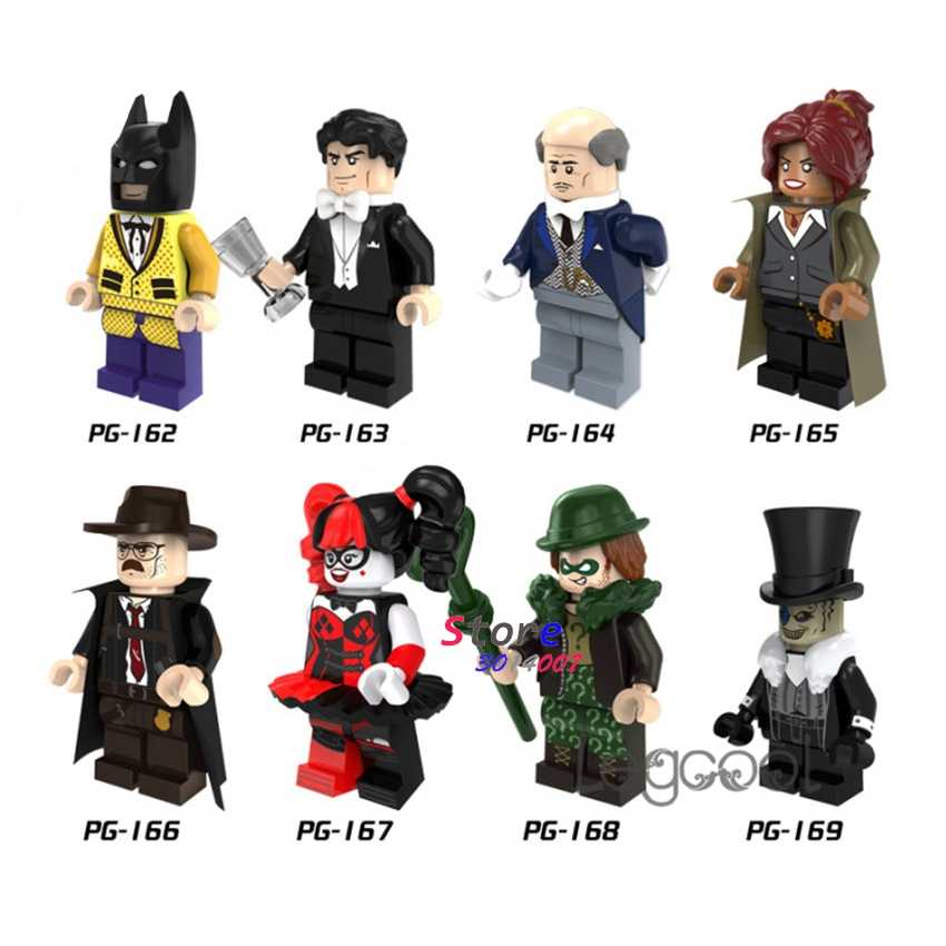 1 adet modeli yapı taşları eylem süper kahraman Batman Bruce Wayne Alfred Harley Quinn Riddler penguen oyuncaklar çocuk hediye için