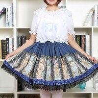 סיפור Fariy ארבע עונות אלת תמונה מודפס חצאיות נשים בציר איכות טובה COS לוליטה נסיכה לוליטה חצאית קפלים חצאית