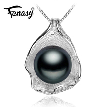 FENASY Pearl Jewelry,Genuine natural Pearl Necklace,Black Golden Pearl Choker pendant Women 2016 new Shell Necklace fashion  box