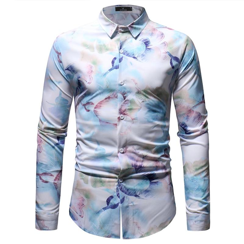 1c114e60b91220 2019 Fashion Floral Print Shirt Men 2018 Spring Autumn New Mens ...