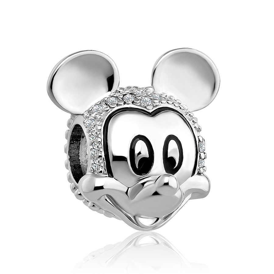 1 PC ยุโรปเงิน House Skull Crown CROSS หัวใจ Mickey Minnie DIY Pandora Charm เงิน 925 original F002