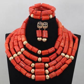 Quality Gold Beads Fashion Jewelry Set Chunky 5 Layers Big Coral Beads Women Jewelry Set for African Wedding Free Ship CNR677
