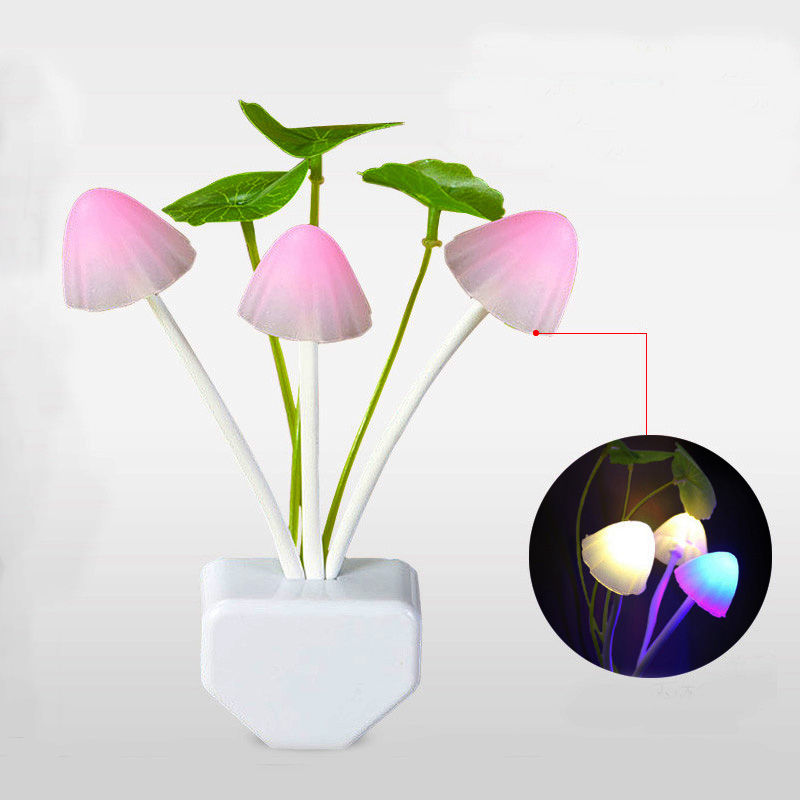 Novelty US & EU Plug Dream Colorful Night Light Convenient Light Induction 3 LEDs Mushroom Lamp Wedding Decoration Led Luminaria