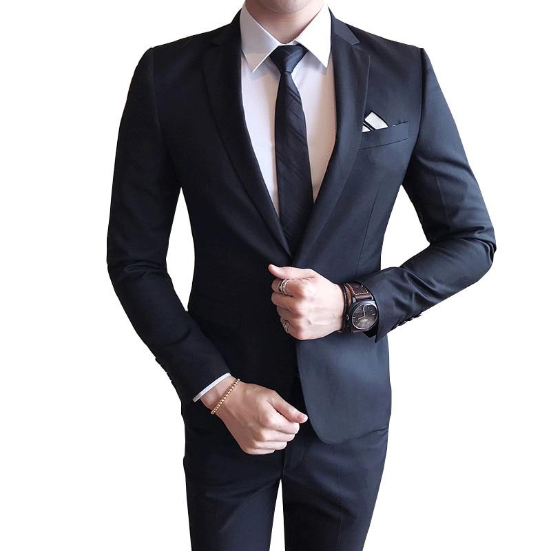 2019 New Men's Boutique Solid Color Fashion Slim Wedding Dress Formal Suit Suits Men's High-end Casual Business Suits Two Sets