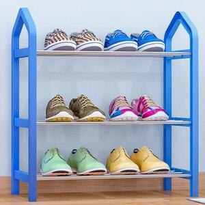 Image 2 - Muebles para el hogar estante sencillo para zapatos armario de almacenamiento multicapa zapatos de montaje económicos estante organizador de almacenamiento soporte