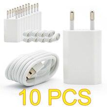 10 pçs/lote ue plugue branco de parede, carregador usb de parede para iphone 8 pinos cabo de carregamento + adaptador do carregador para apple iphone 6 7 plus 5S 5