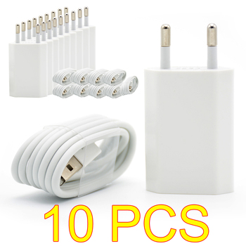 10PCS/Lot EU Plug White Color Wall USB Charger For iPhone 8 Pin Charging Cable + Charger Adapter For Apple iPhone 6 7 Plus 5S 5