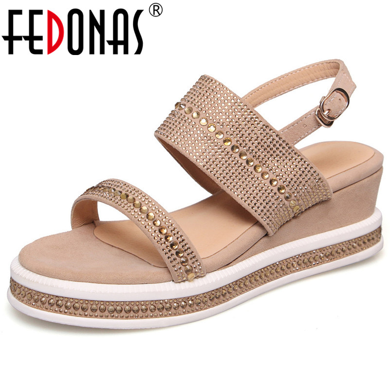 FEDONAS Suede Leather Summer Women Sandals Solid Color Flat With Casusal Shoes Working Shopping Baisc Sandals