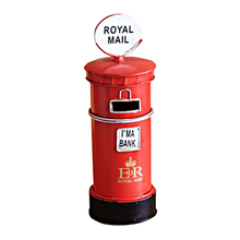 Vintage Postbox Model Metal Home Decor Ornaments Retro Furniture Mailbox Figurines Miniatures Decoration Crafts Kids Gifts