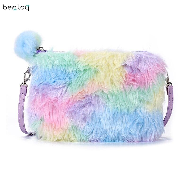 Colorful plush fur women messenger bag flap handbags kawii girls shoulder crossbody bag leather clutch envelope purse bolsa