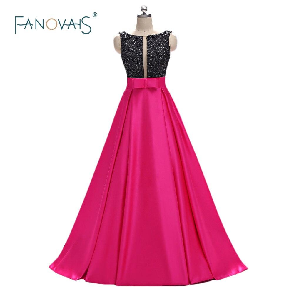 7d867bee0 Moda vestidos noche largo 2019 con cuentas vestido de noche negro de satén vestidos  largos de baile con bolsillo Formal vestido de fiesta ED01 en Vestidos ...
