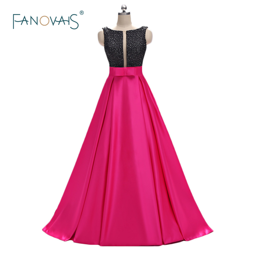 Mode longues robes de soirée 2019 Top perlé noir robe de soirée Satin robes de bal longue avec poche formelle robe de soirée ED01