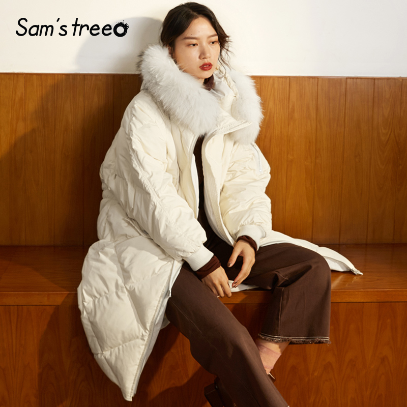 Samstree Natural Fur Collar Winter Women   Down     Coats   Hooded Elastic Waist Thick Long Female Parka Snows Outwear White   Coats