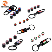 POSSBAY 96% Car Auto Motorcycle Bike Black Car Wheel Tire Valves Air Caps With Keychain Russia UK US Italy France German Flap