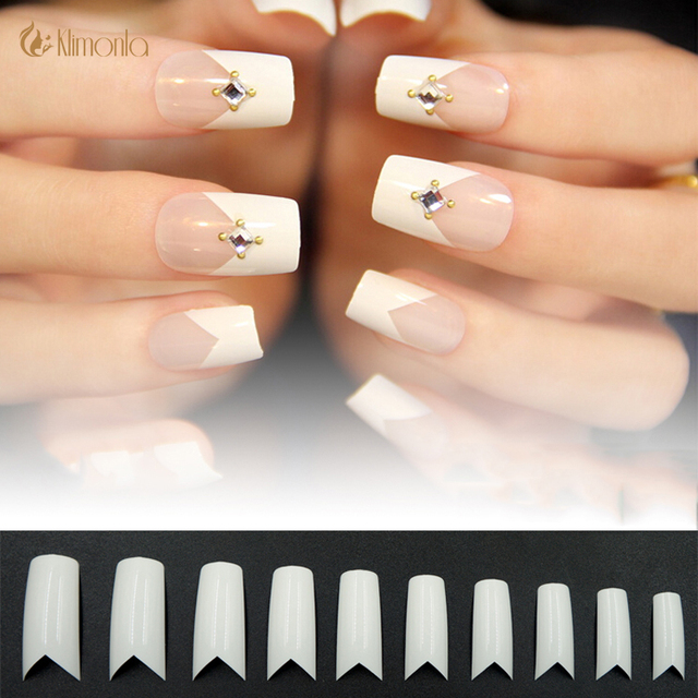 500pcs Lot French Fake Nails Salon Curved Nail Tips Artificial White V Triangle Long