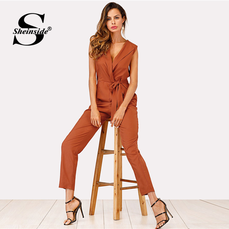 1ccec8a0f430 Sheinside Zip Back Shawl Collar Knot Jumpsuits 2018 Summer V neck  Sleeveless Jumpsuits Women Khaki High Waist Casual Jumpsuit-in Jumpsuits  from Women s ...