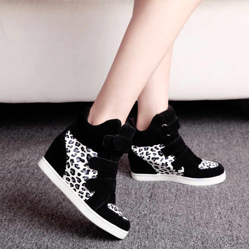 COOTELILI marka sonbahar kadın rahat ayakkabılar leopar süet yarım çizmeler topuklar platformu kama yüksekliği artan spor ayakkabı kadın