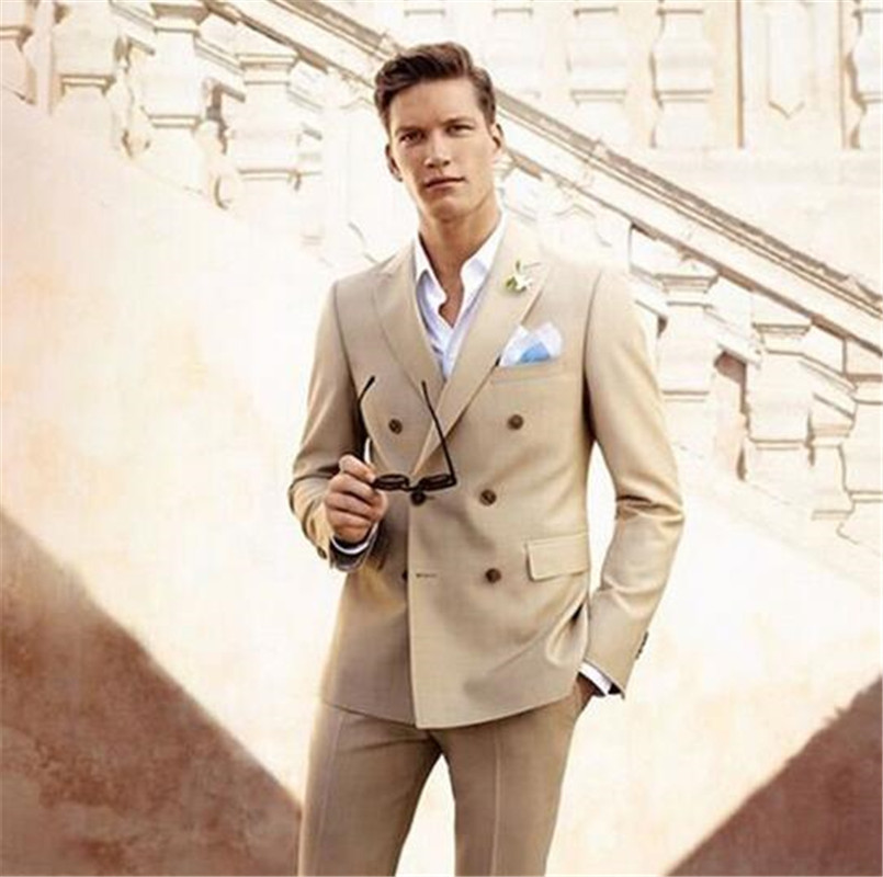 Double Breasted Beige Men Suit Groom Tuxedos Peak Lapel Mens Wedding Suits Formal Dress 2 Pcs (Jacket+Pants) Custom Made