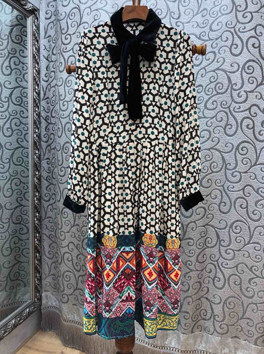 Multi Manches Au Imprimé Printemps Début Couleur Décoratif Longues À 2009 Dress1217 Du Et Correspondant Nouage HHp6Tqng