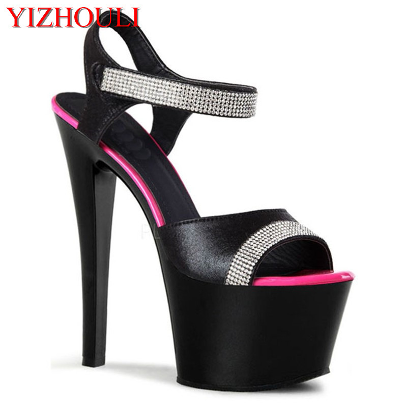 New Hot High Heel Sandals Open Toe Fashion Sexy Women Dress Women's Summer Shoes 17cm hot sale 6 inch high heel sandals new fashion women dress sexy shoes 17cm crystal shoes exotic dancer slippers