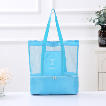 1Pc Women Mesh Transparent Bag Double-layer Heat Preservation Large Portable Insulated Picnic Beach Bags High Capacity New 2019 5