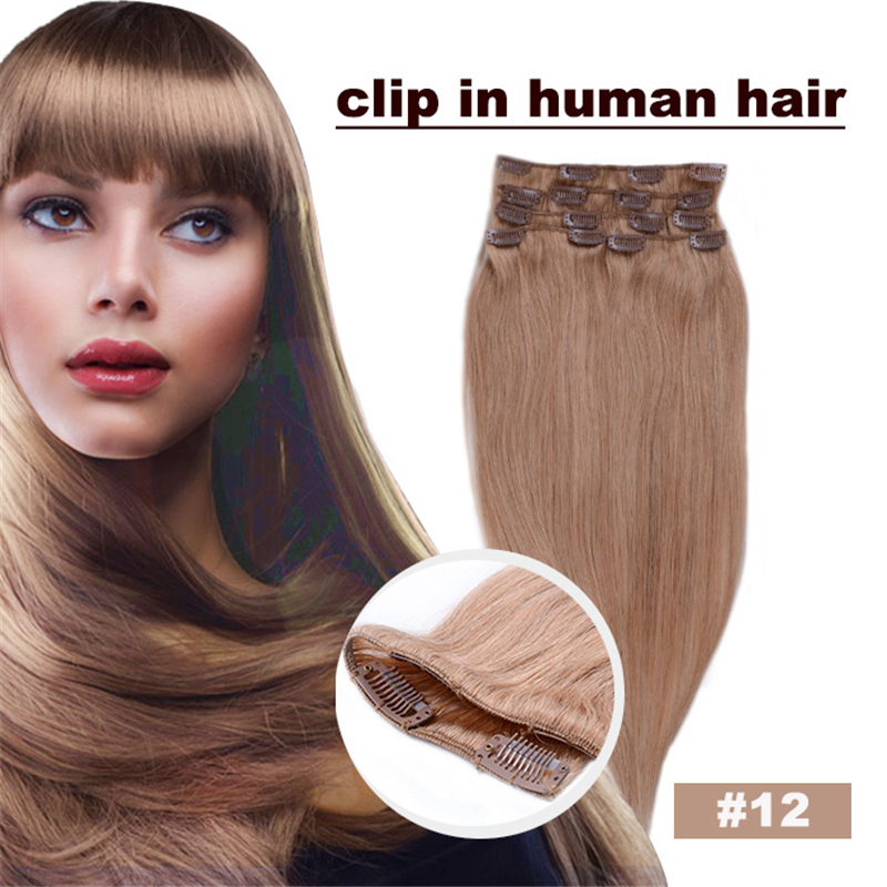Clip In Virgin Human Hair Extension 16inch 18inch 20inch 24inch 70g