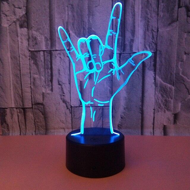3D Ilusi Optik Aku Mencintaimu Bahasa Isyarat Meja LED Malam Lampu USB Dioperasikan Putih Romantis Hari Valentine 'S Day dekorasi