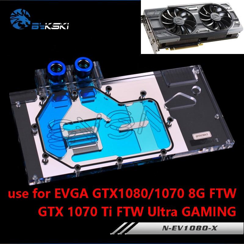 Bykski Full Cover Graphics Card Water Cooling Block use for EVGA GTX1080/1070 FTW/GTX1070 Ti FTW Ultra GAMING Radiator RGB 2pcs lot computer radiator cooler fans video card cooling fan for msi gtx1080 gtx1070 gtx1060 gaming gpu graphics card cooling