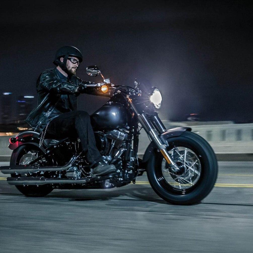 OUTAD 6500 K 40 W DC12-30V Super lumineux résistant aux chocs étanche en aluminium logement LED ronde ampoule de phare pour moto Harley