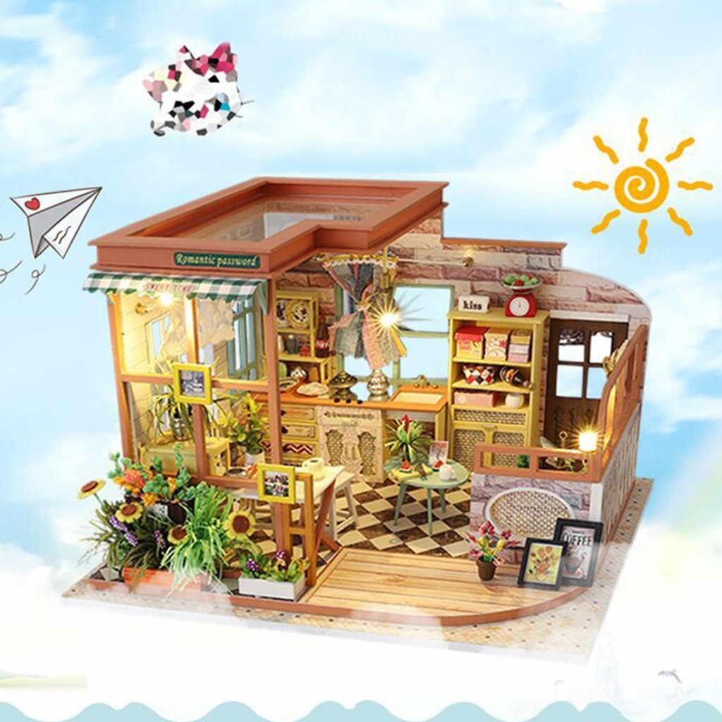 3D деревянные DIY Миниатюрные домики мебель светодиодный Дом головоломка украшения креативный подарок украшения дома аксессуары Сказочный Сад