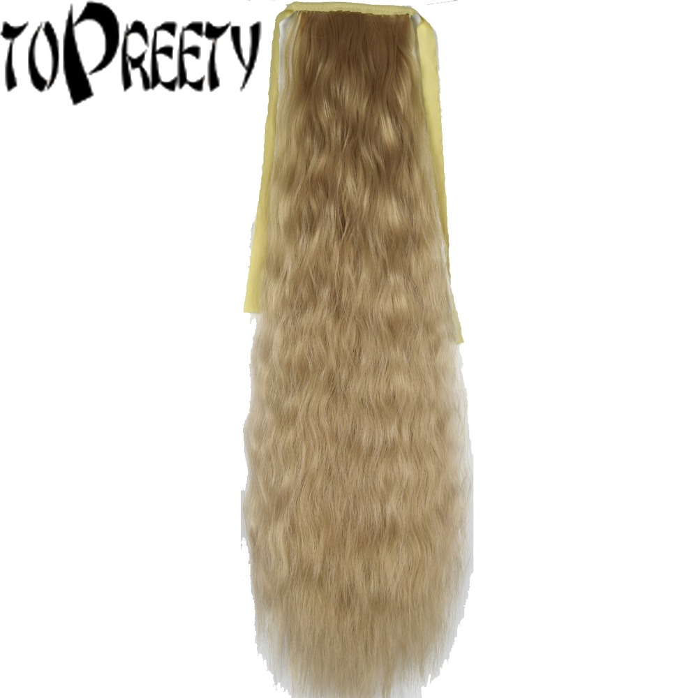 TOPREETY Heat Resistant B5 Synthetic Hair 22 55cm Kinky Straight Ribbon Ponytail Hair Extension 40 Colors Available