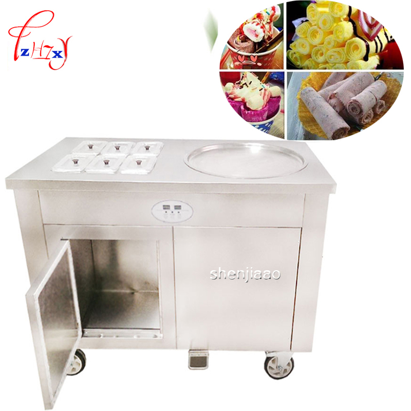 commercial fried ice cream roll fried yogurt machine CBJY-1D6A a single pot with cold storage cabinet fried milk roll machine ce fried ice cream machine stainless steel fried ice machine single round pan ice pan machine thai ice cream roll machine