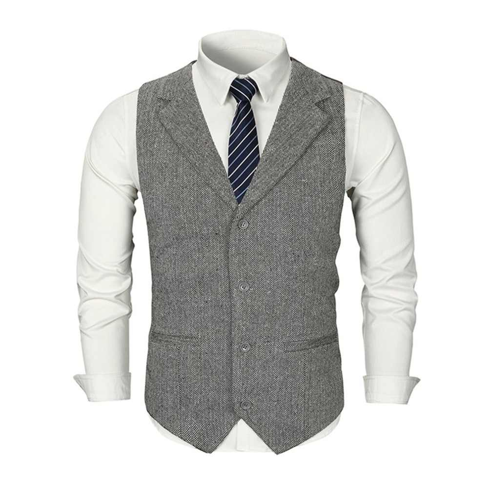 83edb6800 V-Neck Men Check Double Breasted Waistcoat Retro Slim Fit Suit Jacket Men  Sleeveless Business