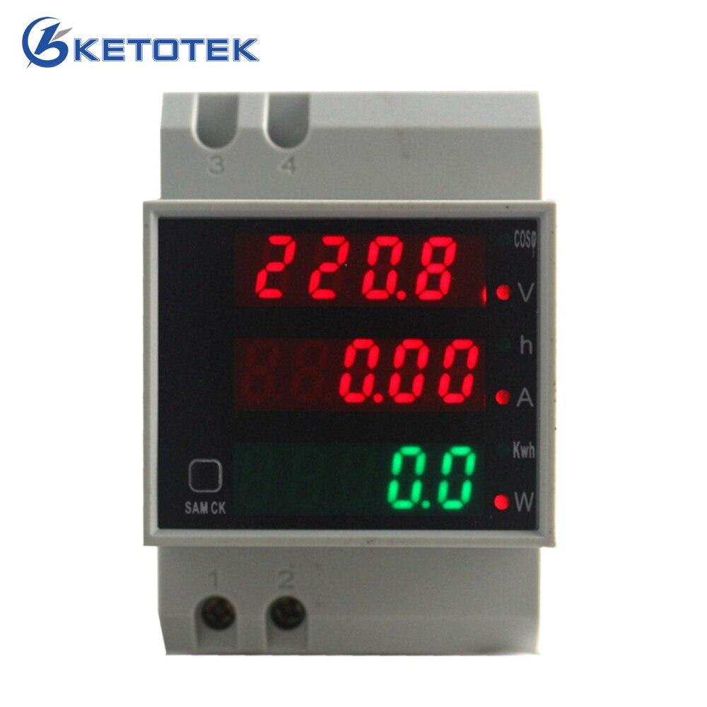 Din rail LED voltaje amperios potencia activa factor de potencia tiempo energía voltaje medidor de corriente AC 220 V 380 V 0-100.0A amperímetro voltímetro