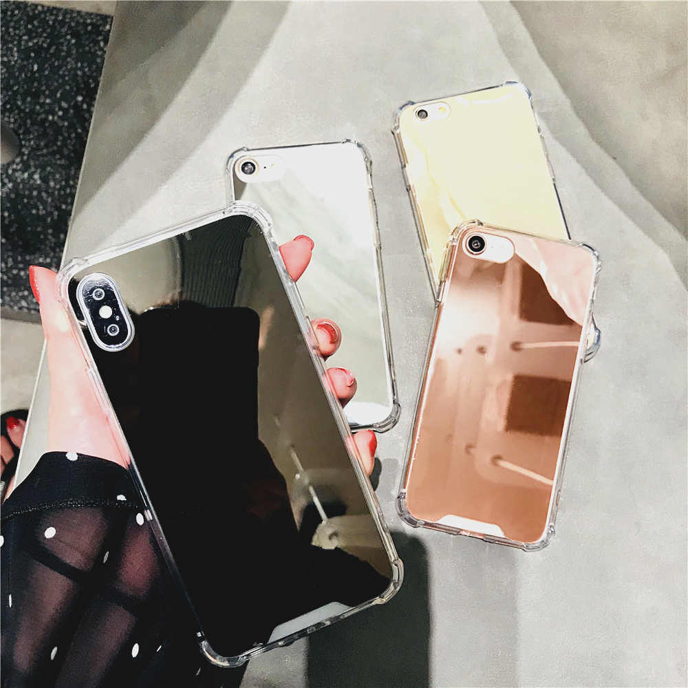 Case For Iphone 8 Plus Fashion Rose Gold Black Silver Mirror