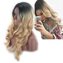 Middle Part Two Tone Black Blonde Ombre Wig Cosplay Synthetic Natural Hair Long Wavy Wigs For Women High Temperature Fiber long middle part wavy colormix synthetic wig