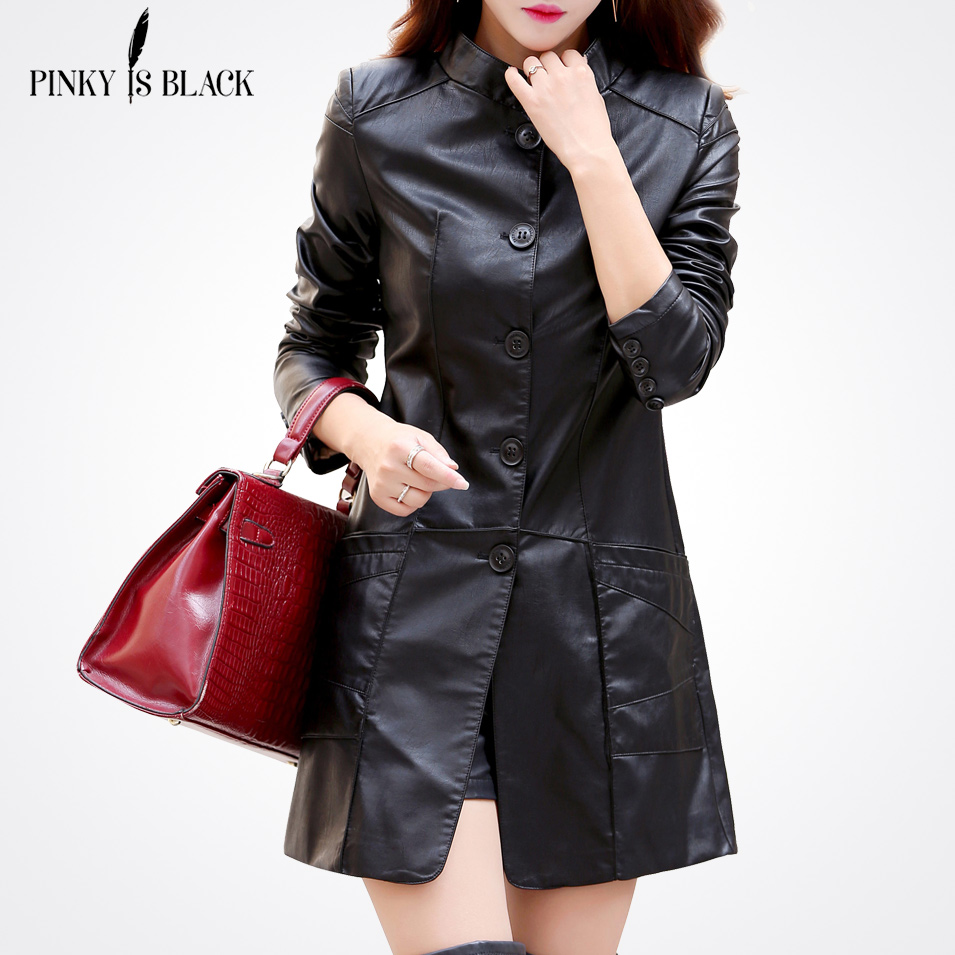 Pinky Is Black Long Leather Jacket Women Pure Color Long Sleeve Above Length Cool Coats Pockets Stand Collar Motorcycle Jacket