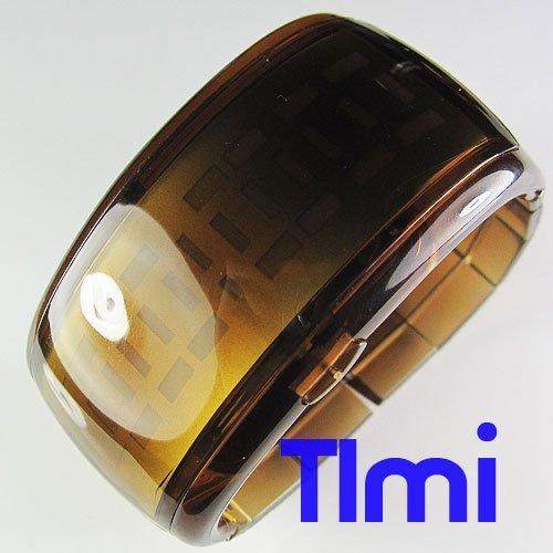 Nueva Tecnología LED luz estupenda DEL ODM del reloj Pulsera de la señora de/Mens del Diseño unisex Reloj marrón