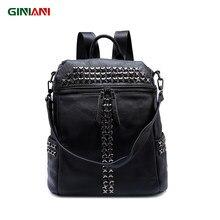 11c5f123911d Giniani натуральная кожа верхней части сплошной черный XX заклепки рюкзак  унисекс Прохладный Рок Стиль передняя молния Сумки на .