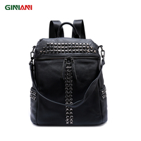 GINIANI Genuine Top Leather Solid Black XX Rivet Backpack Unisex Cool Rock Style Front Zipper Shoulder Bags