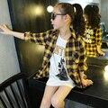 4-14Y 2016 Детей Дети Подростковая Британский Стиль Девушки Рубашки С Длинным Рукавом Пледы Топы Костюм Рубашка детский Конструктор