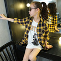 4-14Y 2016 Adolescentes Das Crianças Das Crianças Estilo Britânico Camisas Das Meninas Camisas de Manga Longa Mantas Tops Camisa Do Traje das Crianças do Desenhador