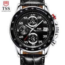 Tss мужские кожаные пояса мужской таблицы кварцевые часы водонепроницаемые простой мода шесть-контактный многофункциональный дисплей Календарь хронограф