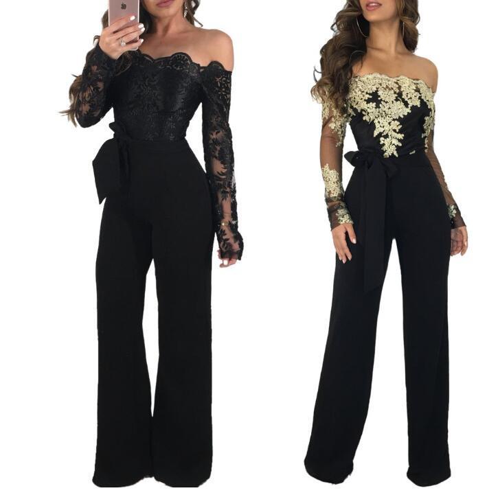 2018 New Arrival Fashion Women Plus Size Elegant Jumpsuit Solid Color Slash Neck Long Sleeve OL Elegant Work Jumpsuit SF-27