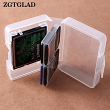 ZGTGLAD Transparent CF / SD-kort opbevaringsboks Plast Compact Flash-hukommelseskort Beskyt Holder Box Storage Case
