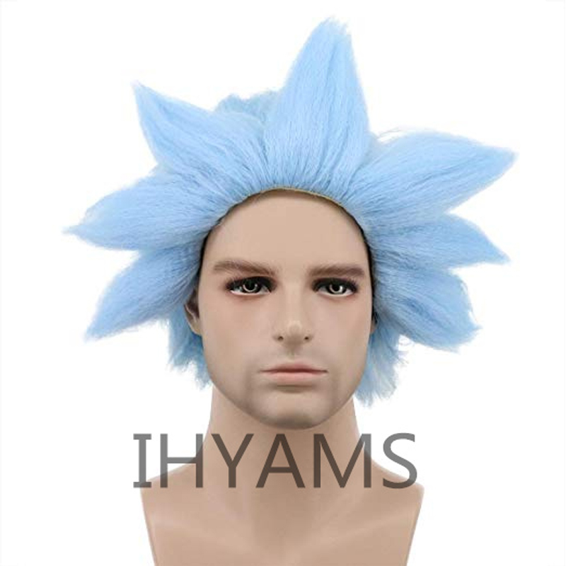 Cosplay Wigs Short Rick Sanchez Blue Synthetic Wig-Cap Morty And